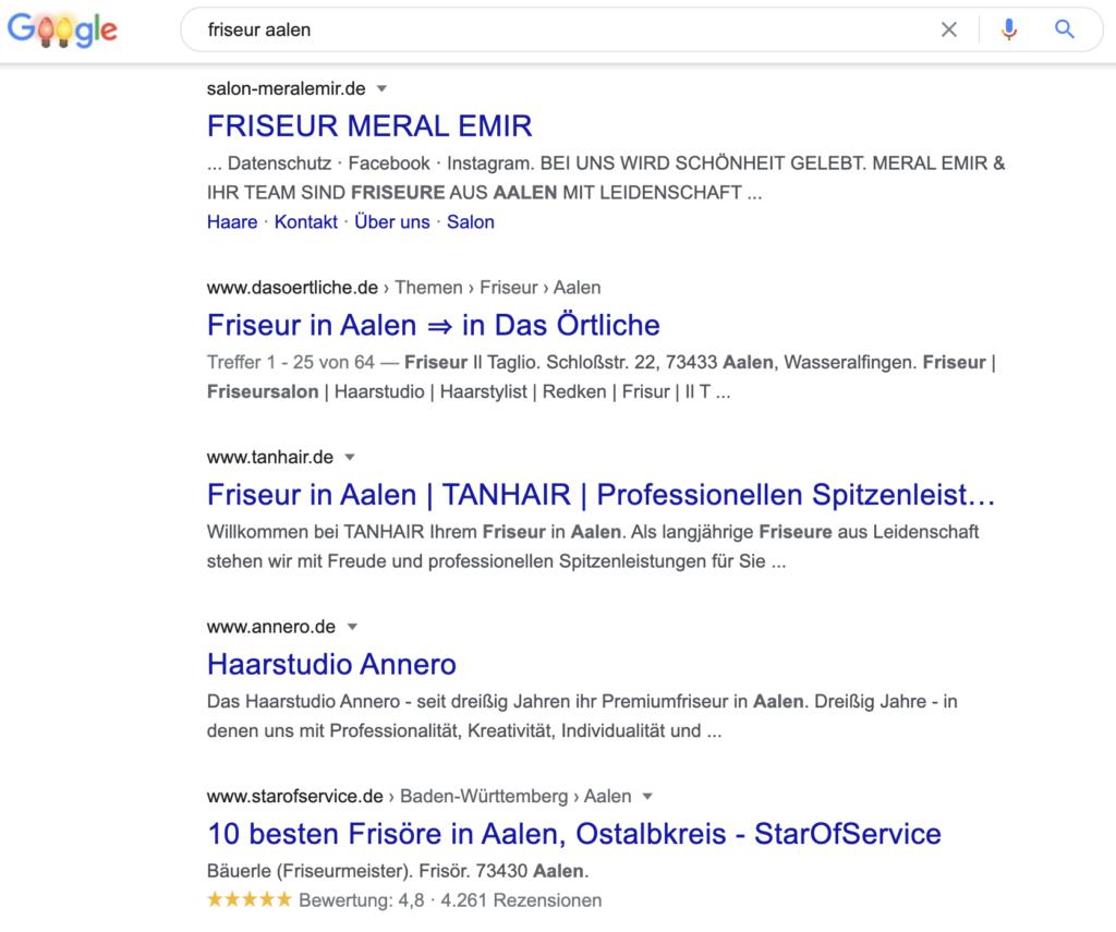 Top 5 Suchergebnisse von Google